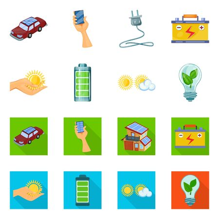 Vector illustration of innovation and technology sign. Collection of innovation and nature vector icon for stock.