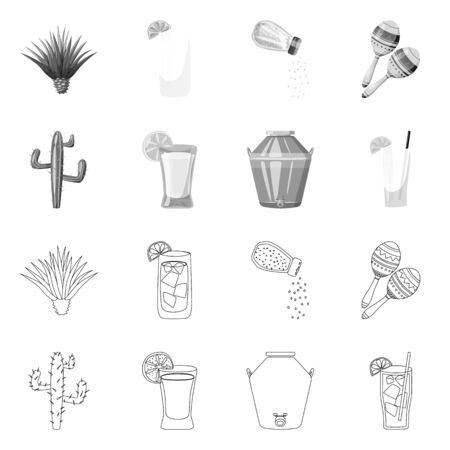 Vector design of cafe and Latin icon. Collection of cafe and national vector icon for stock.