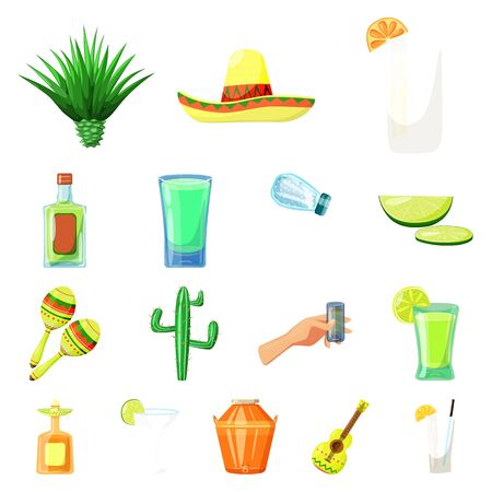 Vector design of Mexico and tequila symbol. Set of Mexico and fiesta stock symbol for web. 向量圖像