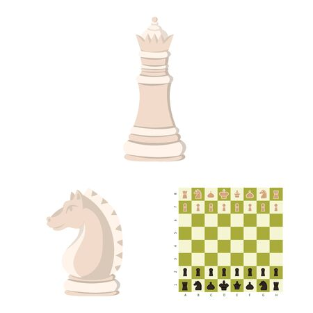 Vector illustration of chess and game symbol. Set of chess and strategy stock symbol for web. Иллюстрация