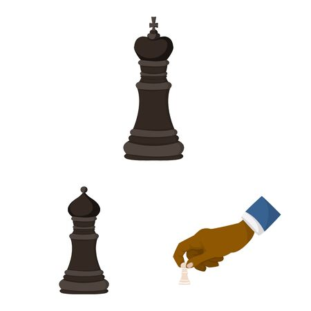Vector illustration of chess and game symbol. Set of chess and strategy vector icon for stock.