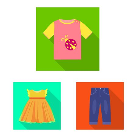 Vector illustration of fashion and garment symbol. Collection of fashion and cotton stock vector illustration. 矢量图像
