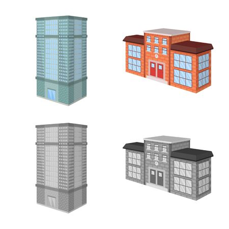 Isolated object of construction and building. Collection of construction and estate stock symbol for web.