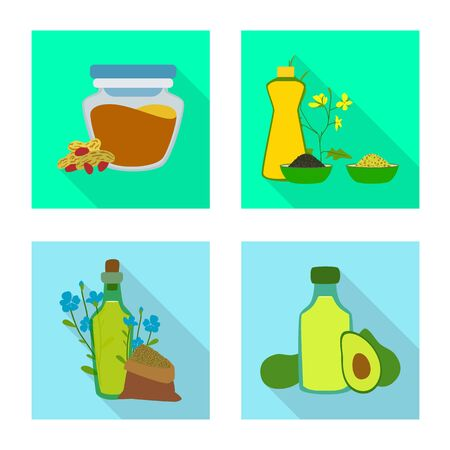 Isolated object of bottle and glass sign. Collection of bottle and agriculture stock symbol for web. Ilustração
