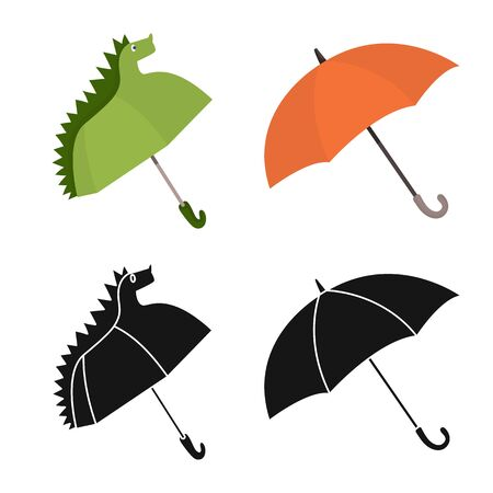 Vector illustration of protection. Collection of protection and rainy stock symbol for web. Çizim