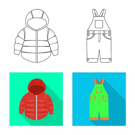 Vector illustration of fashion and garment. Collection of fashion and cotton stock symbol for web.