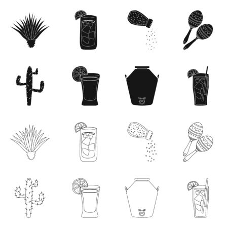 Vector design of cafe and Latin icon. Set of cafe and national vector icon for stock.