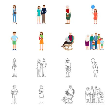 Vector illustration of character and avatar icon. Set of character and portrait vector icon for stock.