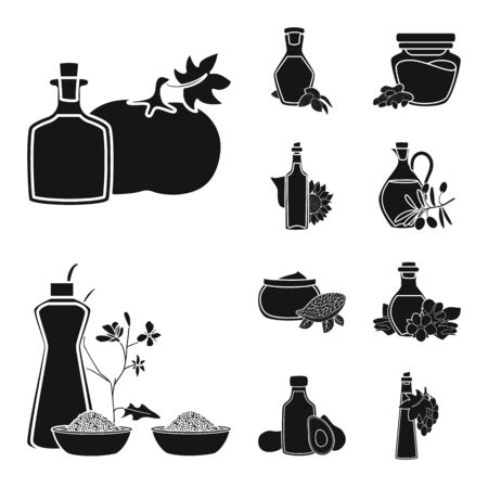Vector illustration of oil and agriculture logo. Set of oil and glass stock symbol for web.