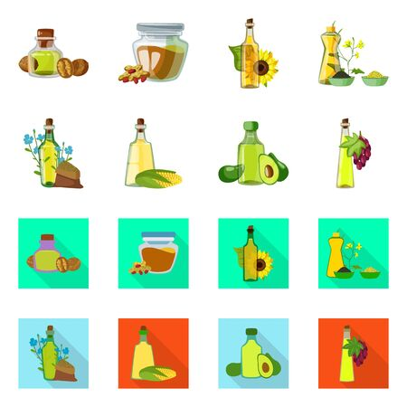 Vector illustration of healthy and vegetable logo. Collection of healthy and agriculture vector icon for stock.