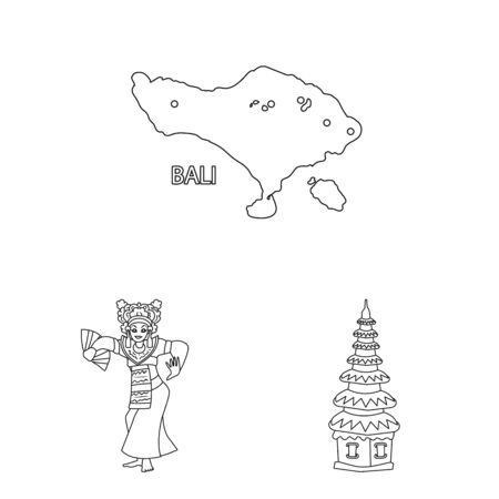 Isolated object of balinese and caribbean sign. Collection of balinese and geography vector icon for stock. Ilustrace