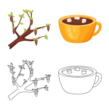 Vector design of food and yummy symbol. Set of food and brown stock symbol for web. Standard-Bild - 132954405