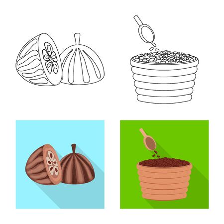 Isolated object of food and yummy logo. Collection of food and brown stock symbol for web.