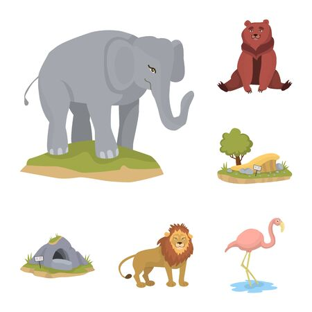 Vector design of zoo and park logo. Collection of zoo and animal stock vector illustration. 写真素材 - 132954198
