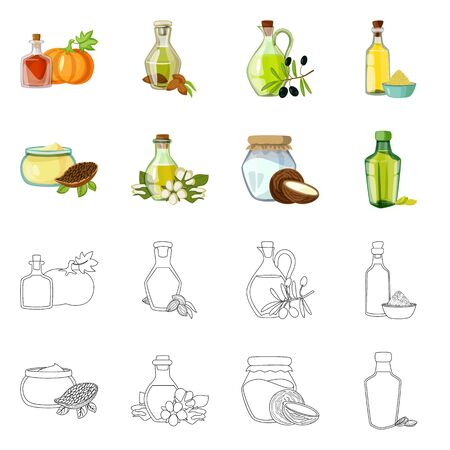 Vector illustration of healthy and vegetable symbol. Collection of healthy and agriculture stock vector illustration.