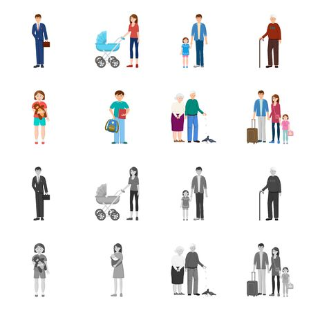 Isolated object of character and avatar sign. Set of character and portrait stock vector illustration. Иллюстрация