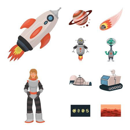 Vector design of space and galaxy icon. Set of space and travels stock vector illustration.