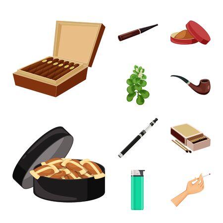 Vector illustration of cigarette and tobacco symbol. Set of cigarette and nicotine stock symbol for web.