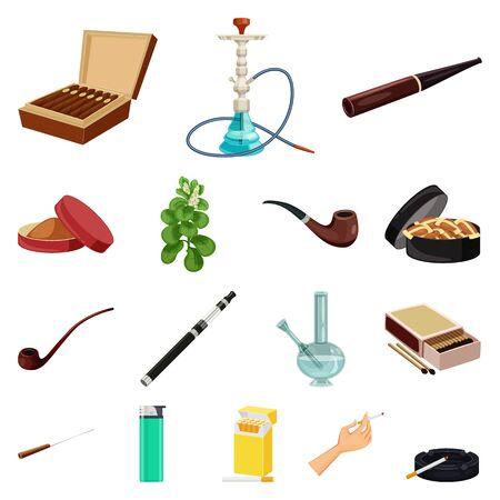 Vector design of cigarette and tobacco logo. Collection of cigarette and nicotine vector icon for stock.  イラスト・ベクター素材