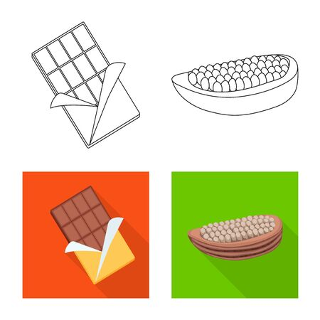 Vector illustration of food and yummy logo. Set of food and brown vector icon for stock.