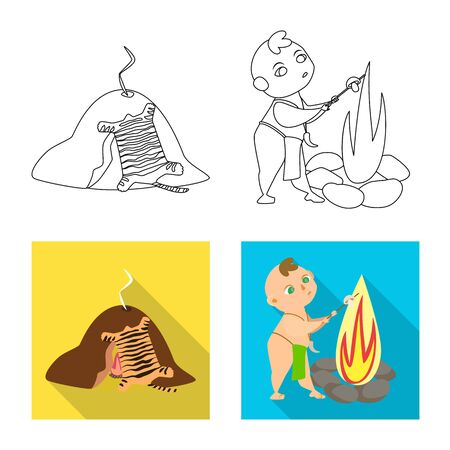 Isolated object of evolution and prehistory icon. Collection of evolution and development stock symbol for web.