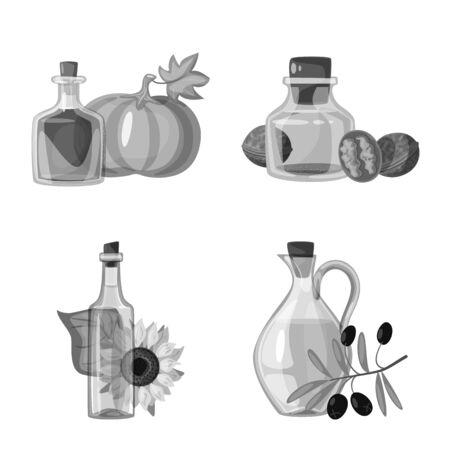 Vector illustration of nutrition and organics icon. Set of nutrition and glass stock symbol for web.
