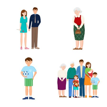 Vector design of family and people sign. Set of family and avatar stock vector illustration.