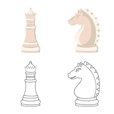 Vector illustration of checkmate and thin symbol. Set of checkmate and target stock vector illustration.