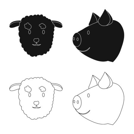 Vector design of agriculture and breeding. Set of agriculture and organic vector icon for stock. Illustration
