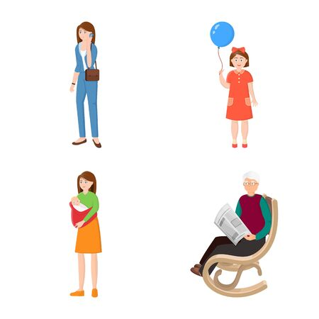 Vector illustration of family and people sign. Set of family and avatar vector icon for stock.