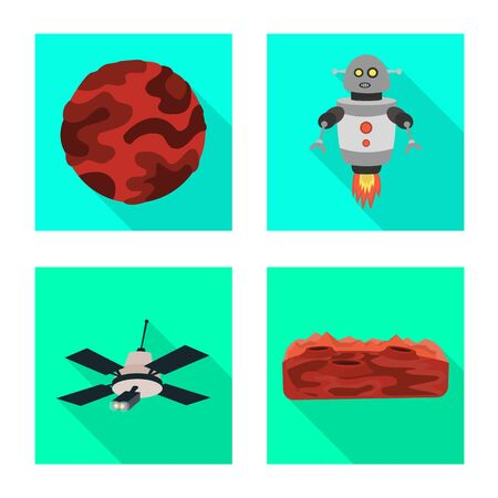 Isolated object of science and cosmic . Collection of science and technology vector icon for stock.