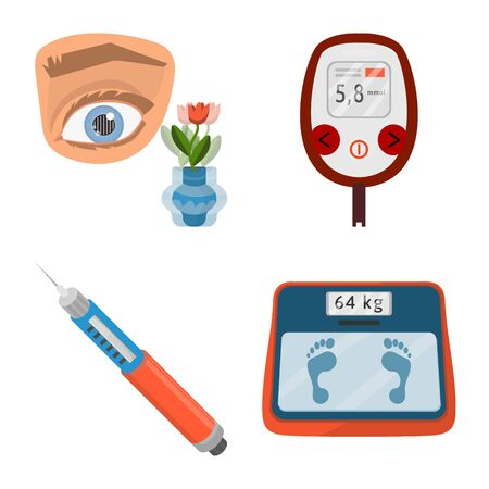 Vector design of mellitus and diabetes icon. Set of mellitus and diet stock symbol for web.