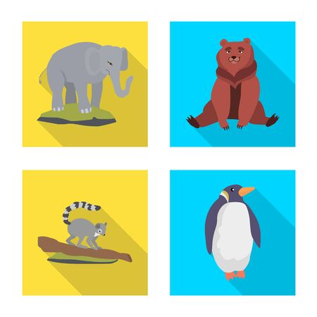Vector design of safari and animal icon. Collection of safari and fun vector icon for stock. Stock Illustratie
