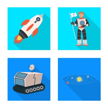 Isolated object of science and cosmic symbol. Collection of science and technology vector icon for stock.