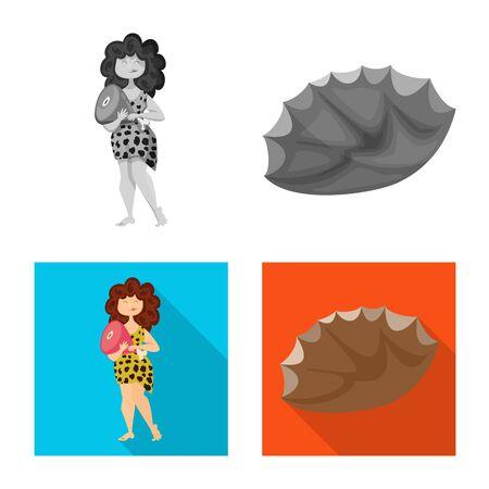 Vector illustration of evolution and prehistory icon. Set of evolution and development stock vector illustration.