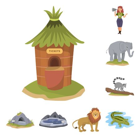 Vector design of zoo and park icon. Collection of zoo and animal stock vector illustration. Ilustração
