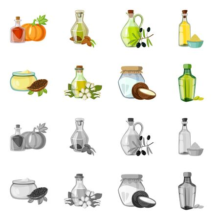 Isolated object of healthy and vegetable symbol. Collection of healthy and agriculture stock symbol for web. Ilustração