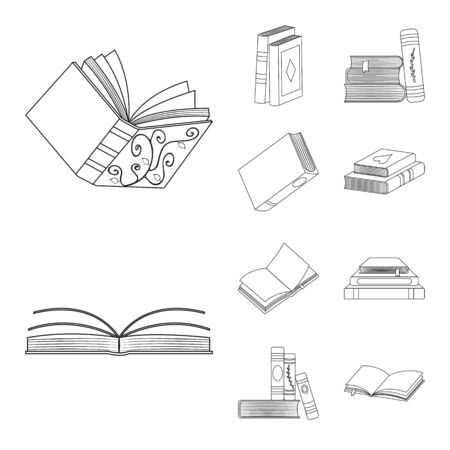 Vector illustration of study and literature sign. Set of study and source vector icon for stock.