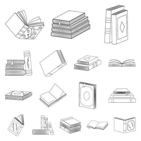 Vector illustration of study and literature symbol. Set of study and source vector icon for stock. Ilustrace