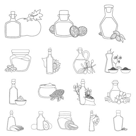 Vector illustration of healthy and vegetable sign. Collection of healthy and organics stock symbol for web. Ilustração