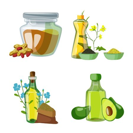Vector illustration of bottle and glass sign. Set of bottle and agriculture stock vector illustration. Ilustração