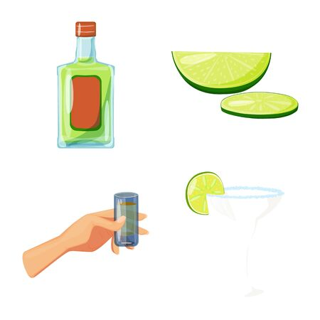 Isolated object of Mexico and tequila logo. Collection of Mexico and fiesta stock vector illustration. Vectores
