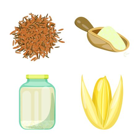 Vector illustration of food and organic sign. Set of food and agricultural stock symbol for web. 일러스트