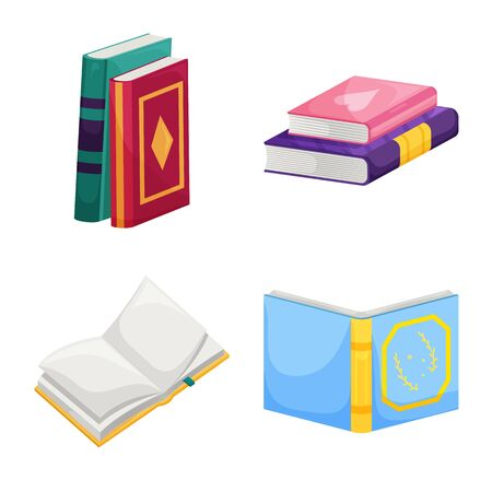 Isolated object of library and bookstore icon. Collection of library and literature vector icon for stock. Çizim