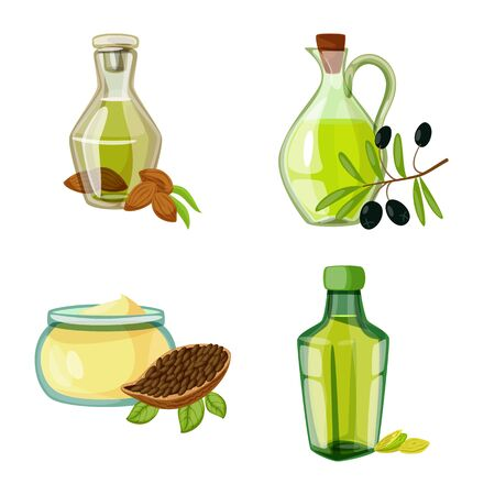Vector design of bottle and glass sign. Collection of bottle and agriculture stock vector illustration. Illustration