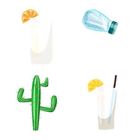 Vector illustration of Mexico and tequila sign. Collection of Mexico and fiesta stock symbol for web. Stok Fotoğraf - 133404865