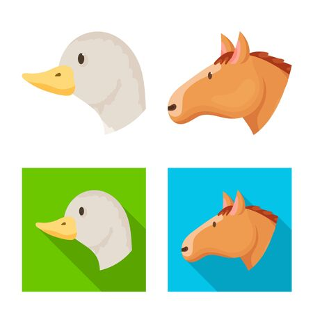 Isolated object of agriculture and breeding icon. Set of agriculture and organic stock symbol for web. Çizim