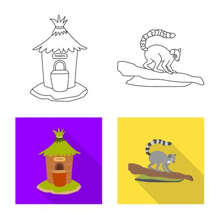 Vector illustration of nature and fun icon. Collection of nature and entertainment stock symbol for web. Çizim