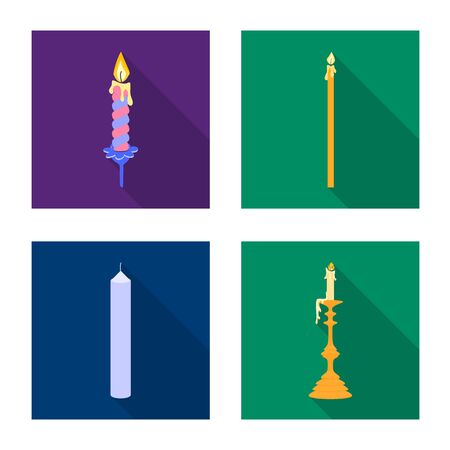 Isolated object of candlelight and decoration symbol. Set of candlelight and flame stock vector illustration.