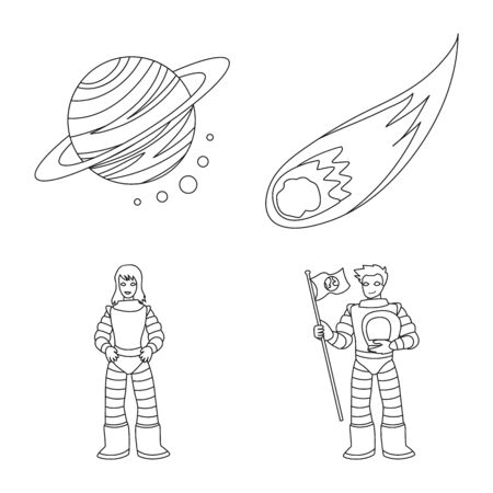 Isolated object of space and galaxy icon. Set of space and travels stock symbol for web. Çizim
